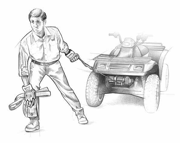 Работа с лебедкой на квадроцикле. (15)